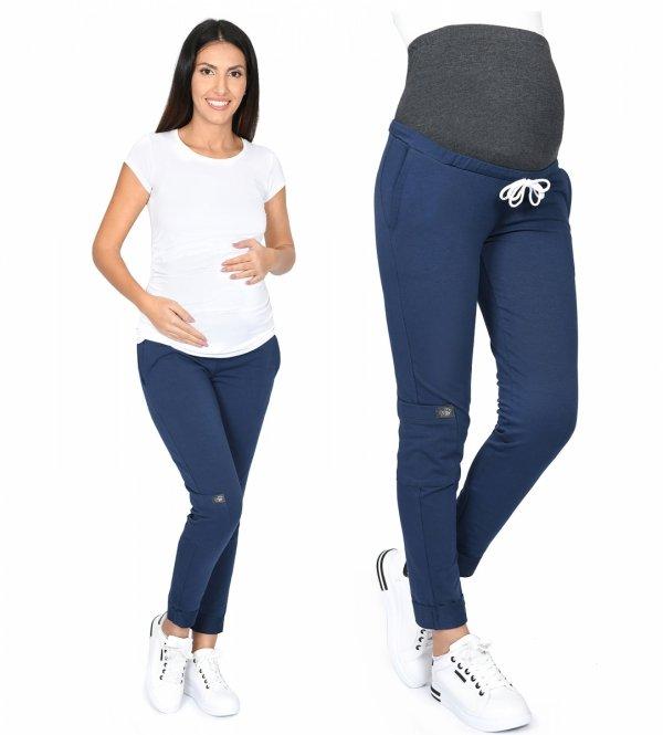 MijaCulture Wygodne spodnie dresowe ciążowe ZOE M002 granat1