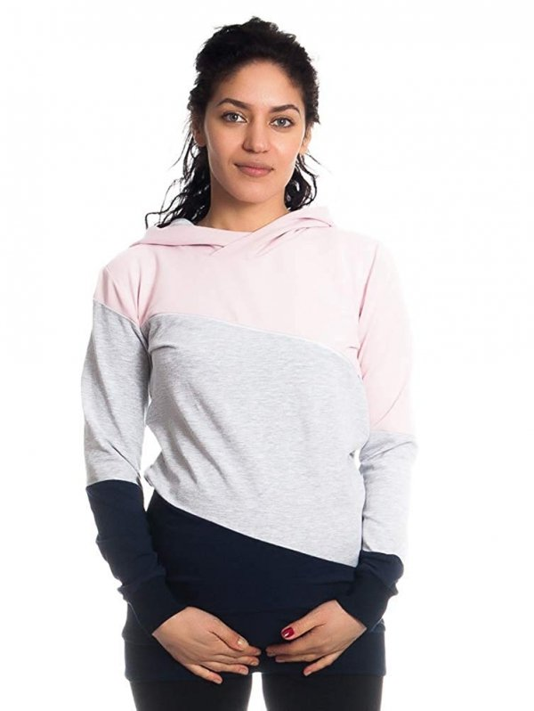 Wygodna bluza ciążowa i do karmienia 9094 róż/melnż 4