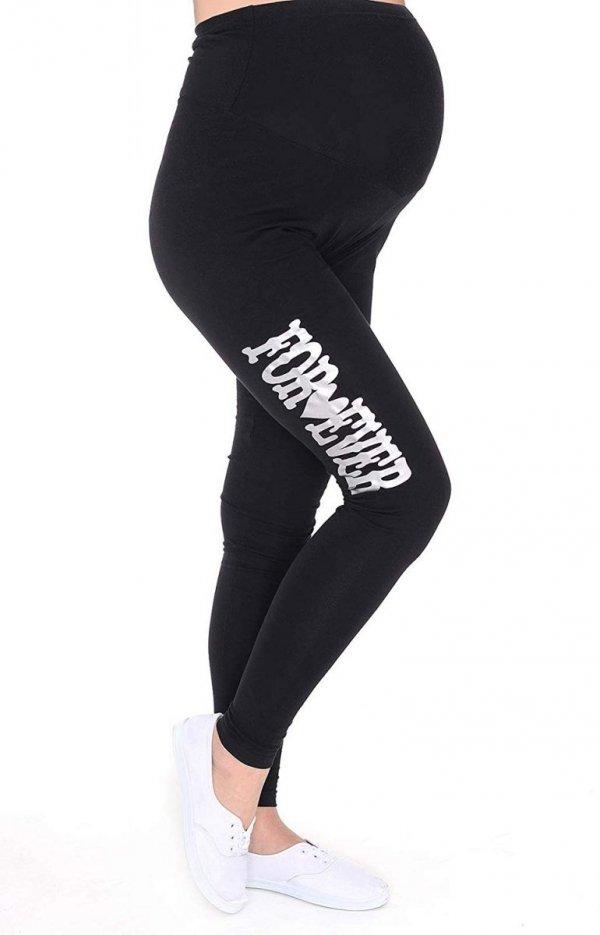 """Wygodne legginsy ciążowe z nadrukiem """"For Ever"""" 9085 czarny 1"""