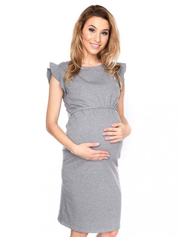 """MijaCulture - zjawiskowa sukienka 2 w 1 ciążowa i do karmienia """"Lia"""" szary 1"""