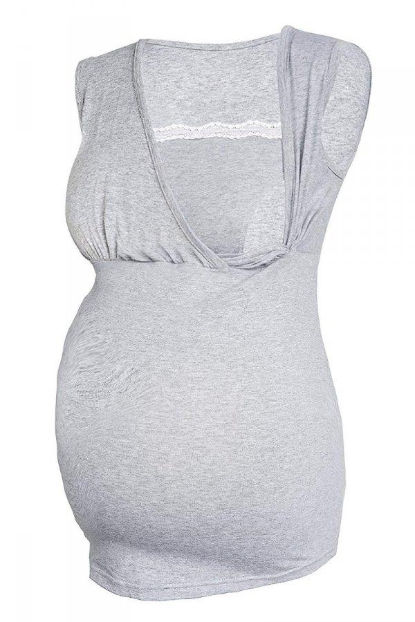 MijaCulture - top ciążowy i do karmienia z koronką 4032/M45 melanż 1