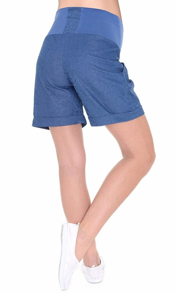 MijaCulture - cienkie szorty ciążowe 4074/M56 niebieske druk 4
