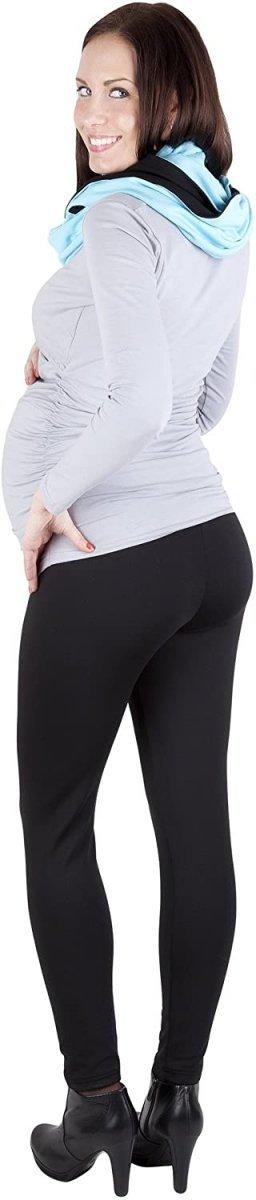 MijaCulture - Komfortowe legginsy ciążowe zimowe 1034 czarne7