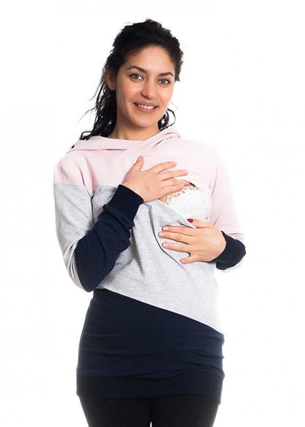 Wygodna bluza ciążowa i do karmienia 9094 róż/melnż 3