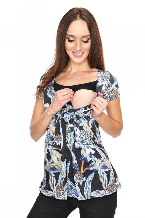 """MijaCulture - bluzka ciążowa 2 w 1 ciążowa i do karmienia krótki rękaw """" Dora"""" 7104 kwiaty 2"""