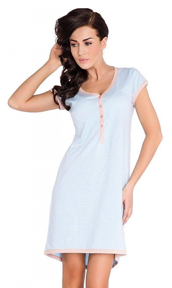 """Wygodna koszula 2 w 1 ciążowa i do karmienia krótki rękaw """"Hebe"""" 5053 jasno niebieski"""