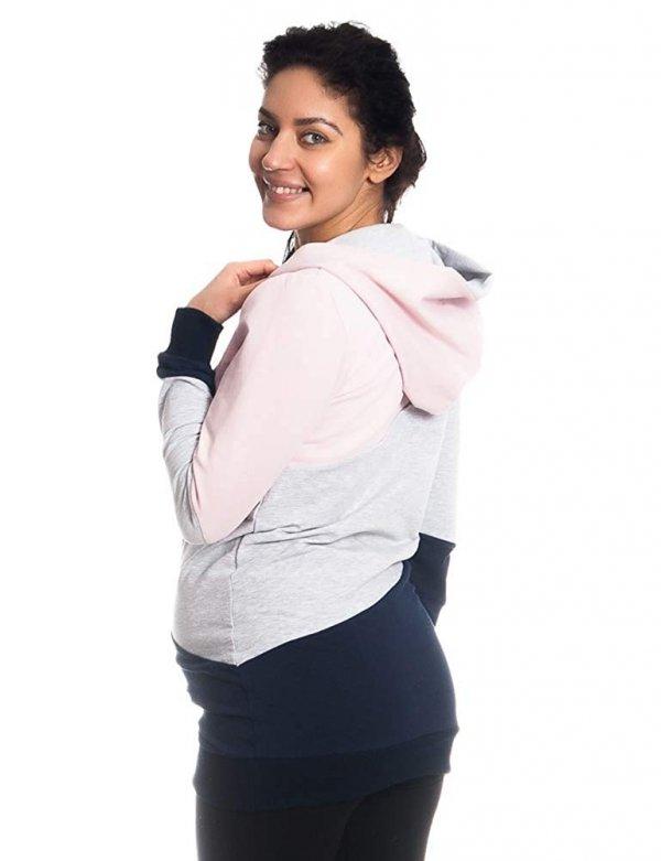 Wygodna bluza ciążowa i do karmienia 9094 róż/melnż 5