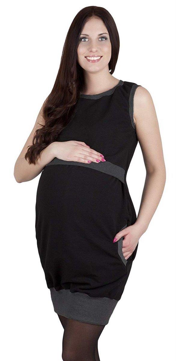 """MijaCulture - 2 w1 sukienka ciążowa i do karmienia """"Fiona"""" 7111 czarny/melanż 2"""