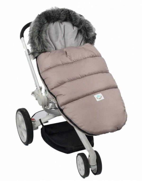 Ciepły śpiworek do spacerówki wózka Fluffy F024 cappuccino