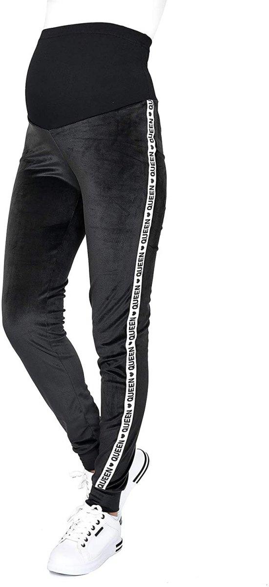 Wygodne spodnie ciązowe dresowe welurowe  9096 czarne/queen2