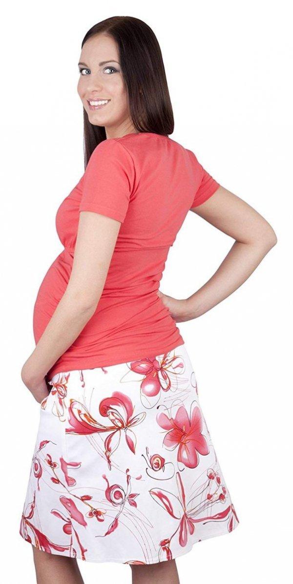 MijaCulture - spódnica ciążowa w kwiaty 1044/M64 różowy 3