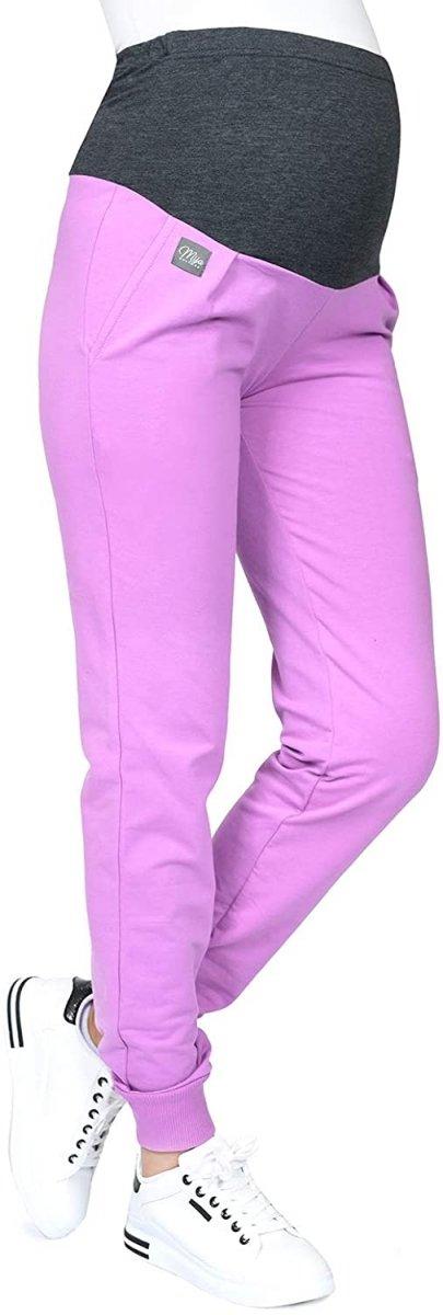 MijaCulture Wygodne spodnie dresowe ciążowe Coco M003 róż1