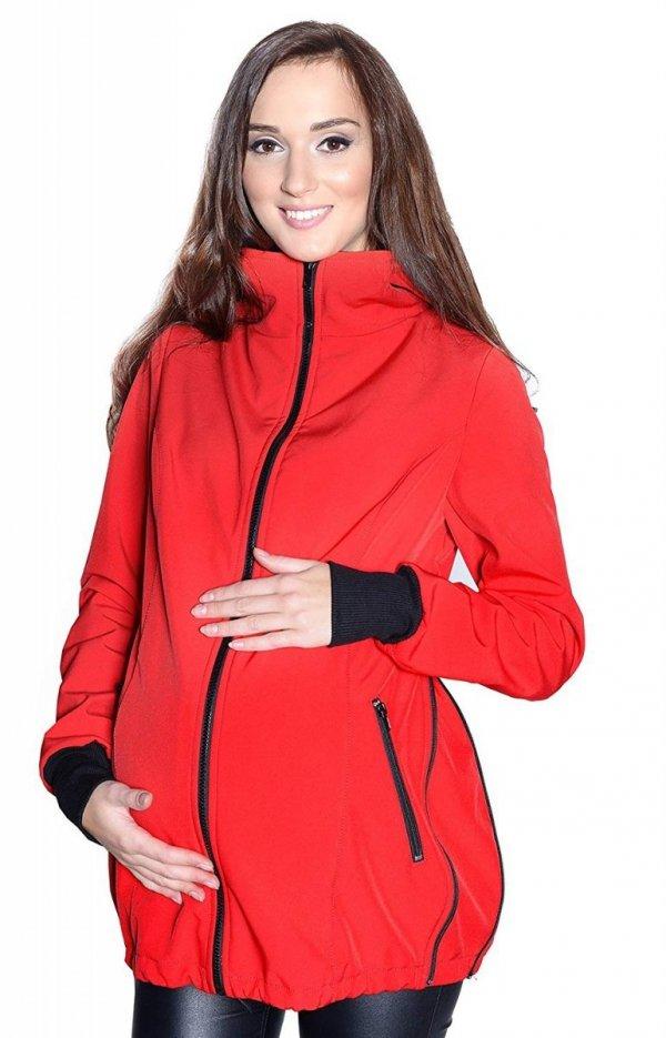 kurtka softshell 3D ciążowa i do noszenia dziecka M52/4068 czerwony 3
