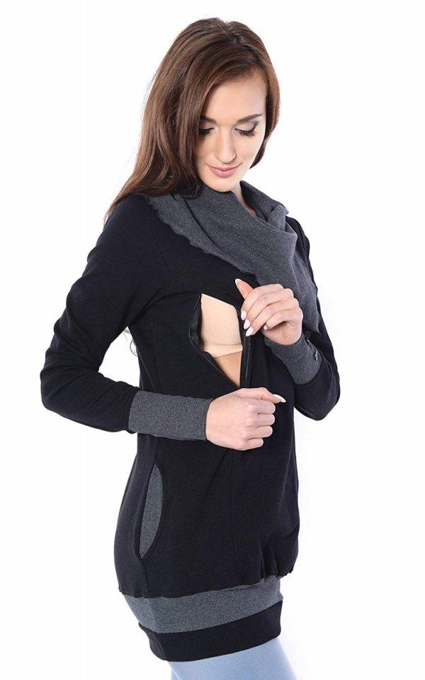 bluza 3 w1 ciążowa i do karmienia z asymetrycznym kołnierzem 4020/M05 czarny/grafit 1