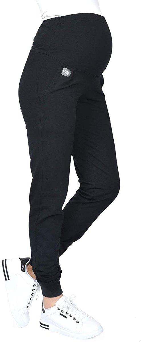 MijaCulture Wygodne spodnie dresowe ciążowe Coco M003 czarny1