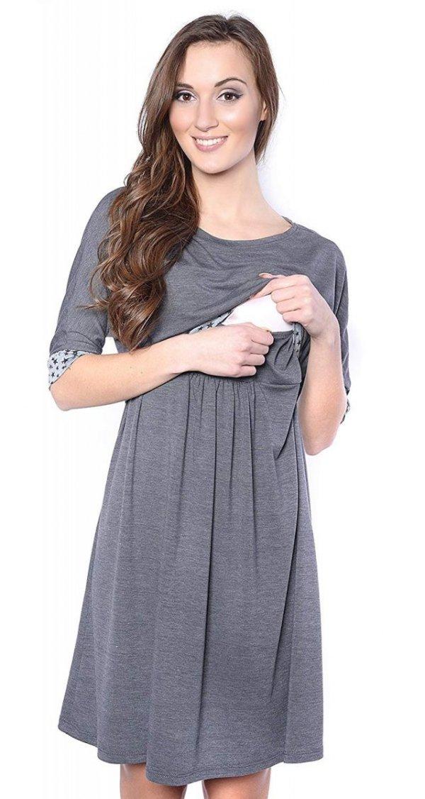 Piękna sukienka 2 w 1 ciążowa i do karmienia Daisy 7131 szara 2