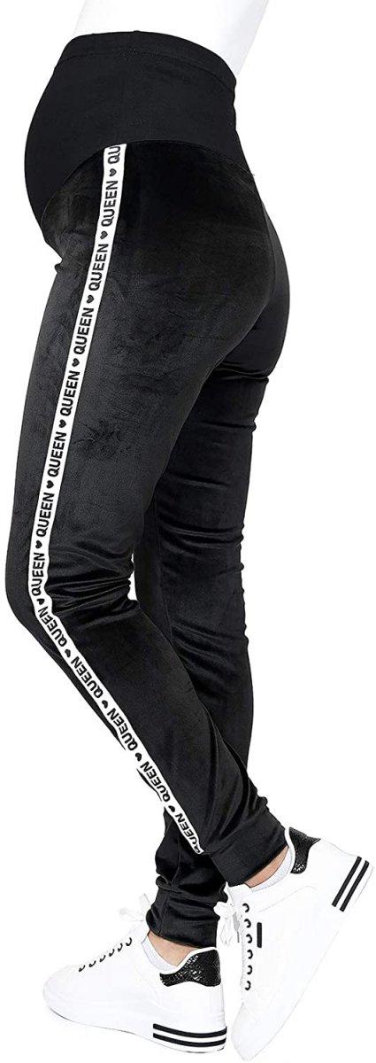Wygodne spodnie ciązowe dresowe welurowe  9096 czarne/queen1