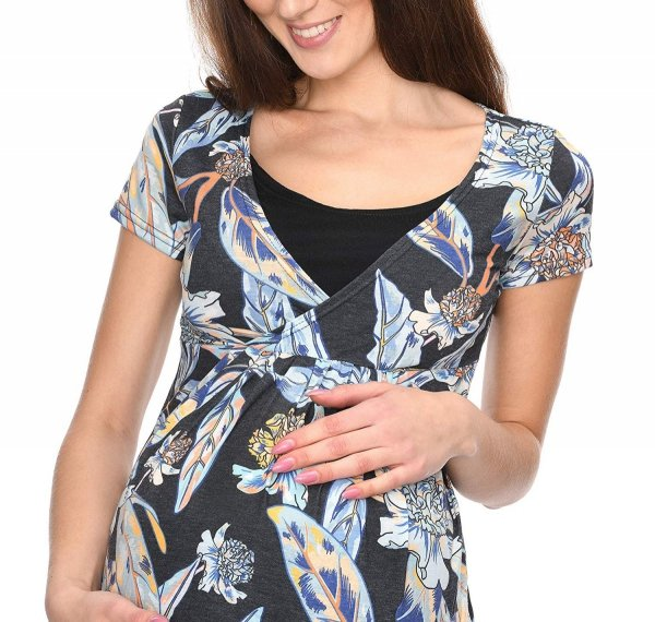 """MijaCulture - bluzka ciążowa 2 w 1 ciążowa i do karmienia krótki rękaw """" Dora"""" 7104 kwiaty 3"""