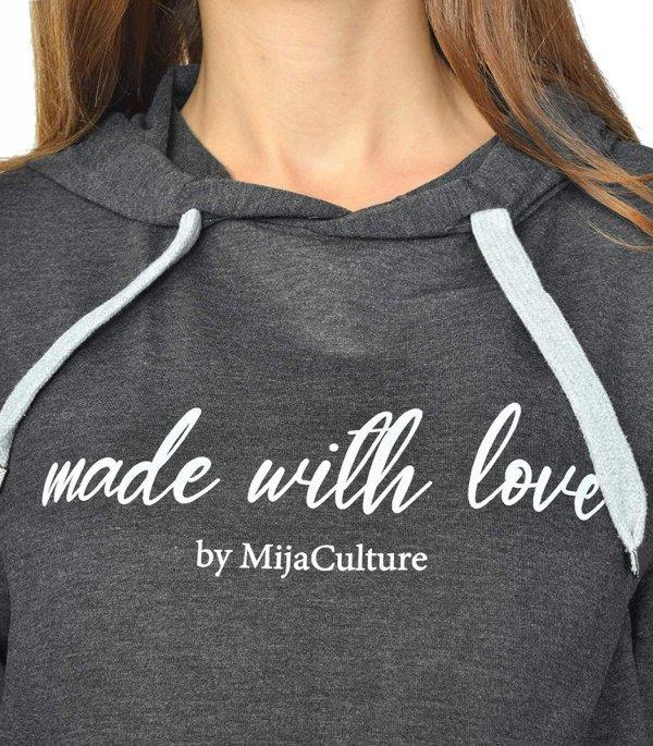MijaCulture - 3 w 1 bluza ciążowa i do karmienia M68 4110 grafit Made with love 3