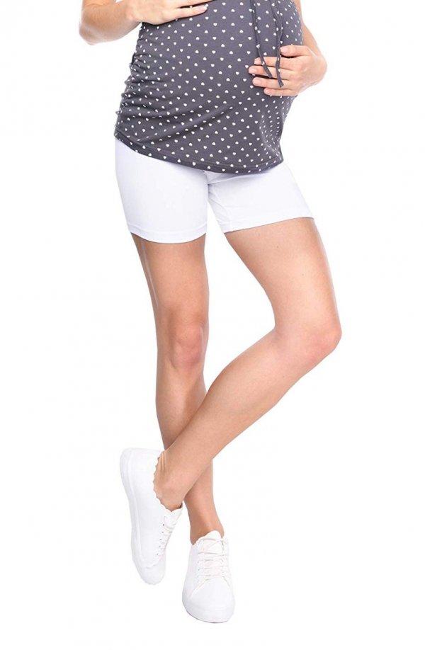 Wygodne krótkie legginsy ciążowe Mama Mia biały 2