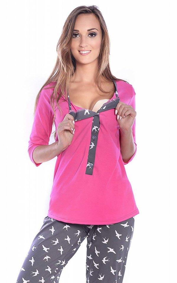 3 w 1 piżama ciążowa i do karmienia 4054/M52 róż/ grafit 4