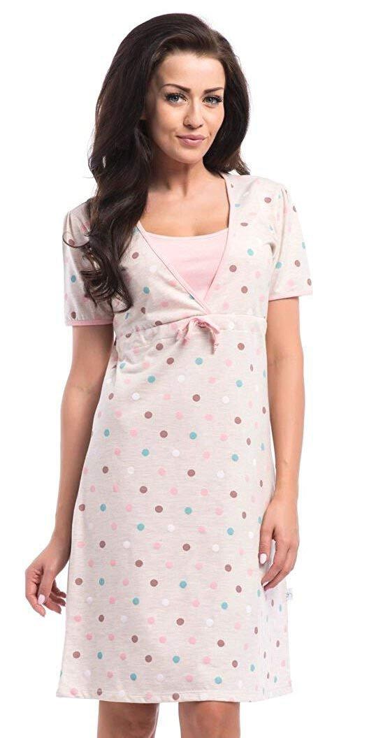 Elegancka koszula 2 w 1 ciążowa i do karmienia 5062/4044 beż/kropki 1