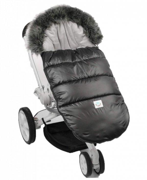 Ciepły śpiworek do spacerówki wózka Fluffy F024 grafit