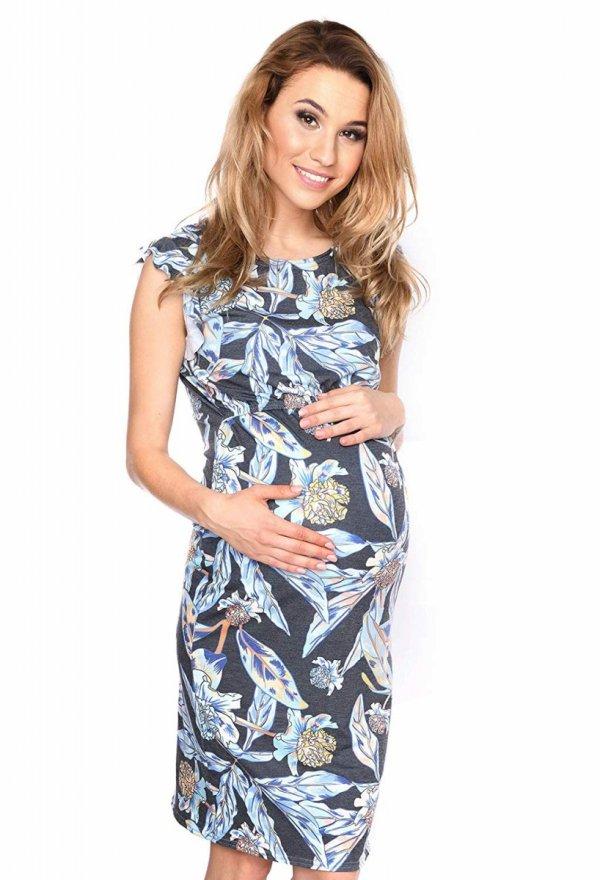 """MijaCulture - zjawiskowa sukienka 2 w 1 ciążowa i do karmienia """"Lia"""" czarna/kwiaty 2"""