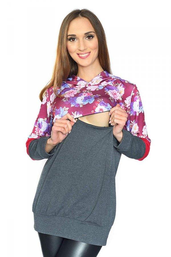 """MijaCulture - 3 w 1 bluza ciążowa i do karmienia """"Jane"""" 7144 grafit/kwiaty 2 1"""