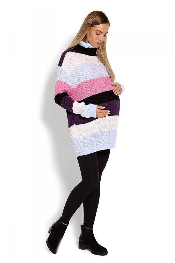 Wygodny sweter ciążowy w paski 70007/2012 różowy 3