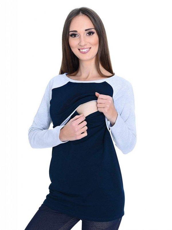 """Wygodna bluzka 2 w 1 dla kobiet w ciąży i dla karmiących """"Viva"""" 9092 granat 2"""