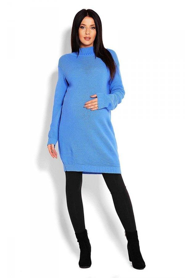 Długi sweter ciążowy Majka 2009 niebieski 2