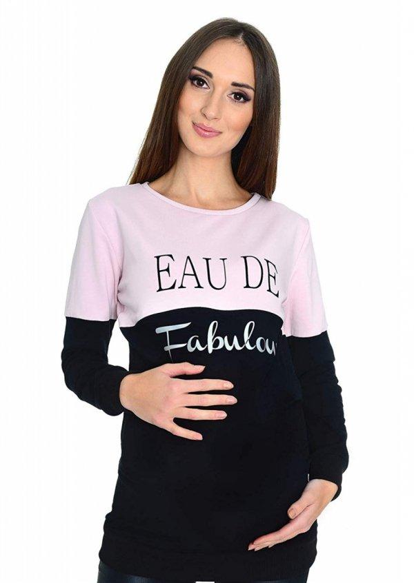 """Funkcjonalna bluza ciążowa i do karmienia """"Fabulous"""" oraz """"with Stars"""" 9086 czarny/jasny róż 2"""