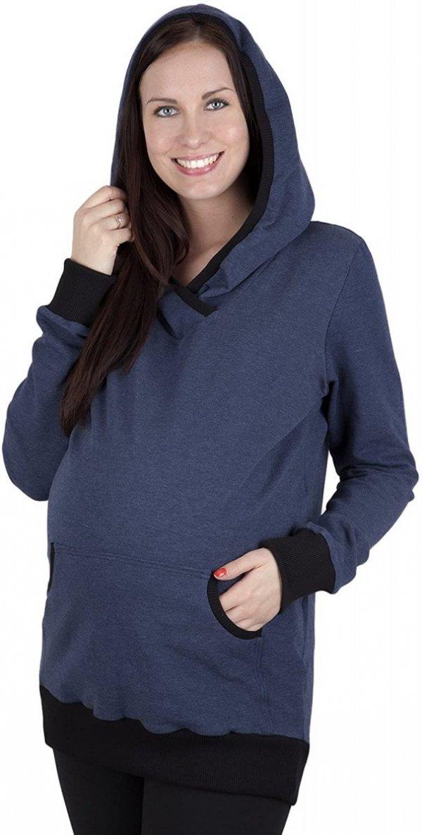 Bluza ciążowa z kapturem Vera 9049 dla kobiet w ciąży niebieski1