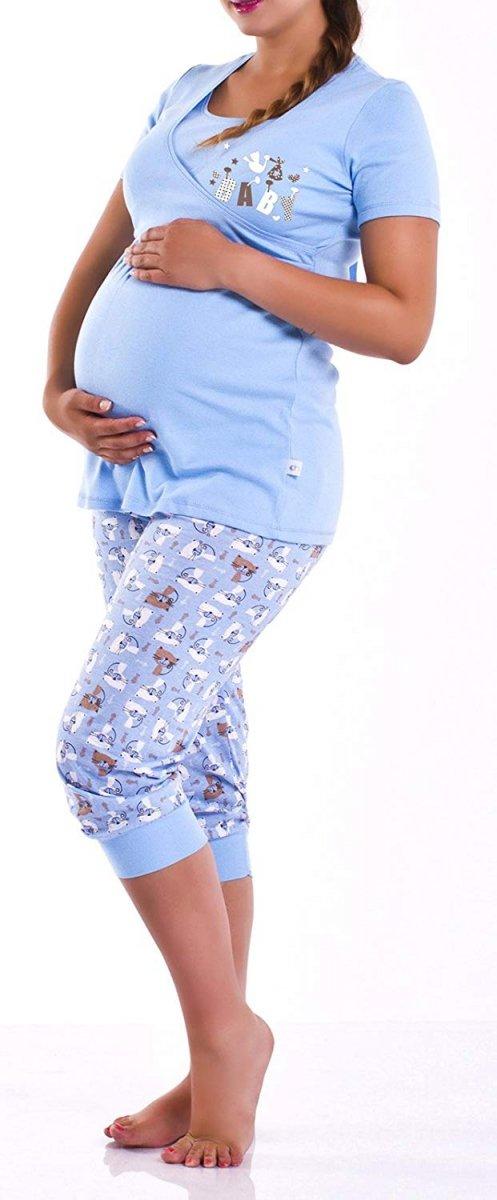 """Wyjątkowa piżama 2 w 1 ciążowa i do karmienia """"Baby"""" 5058 niebieski 2"""