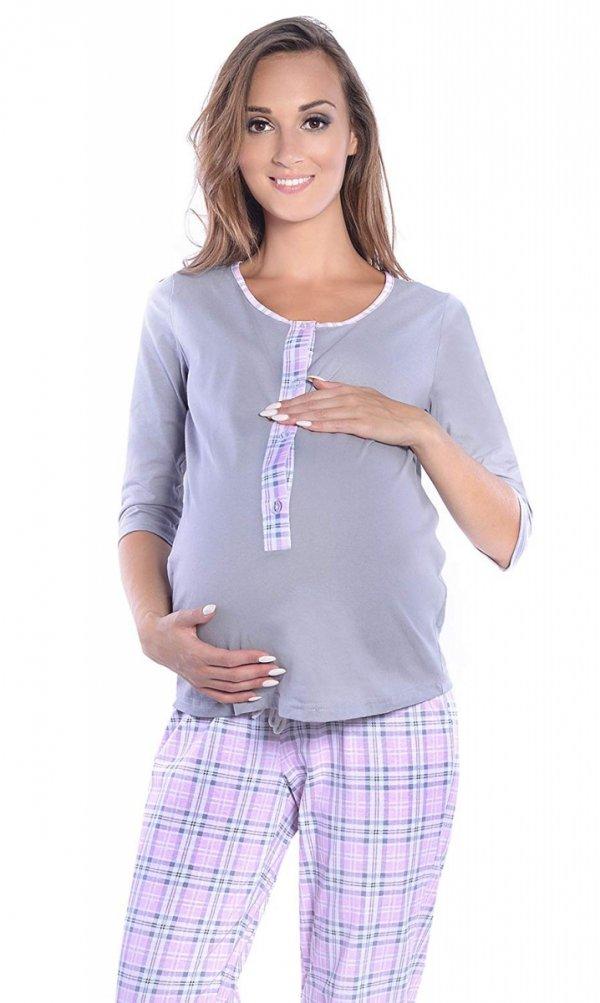 3 w 1 piżama ciążowa i do karmienia 4054/M52 szary/ jasny róż 4