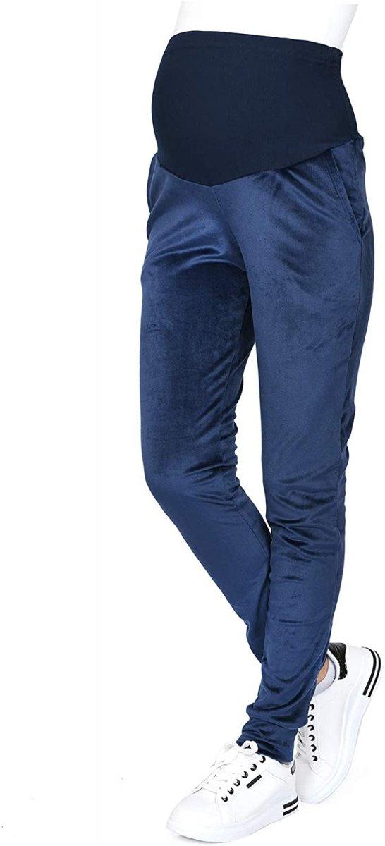 Wygodne spodnie ciązowe dresowe welurowe  9096 granat2