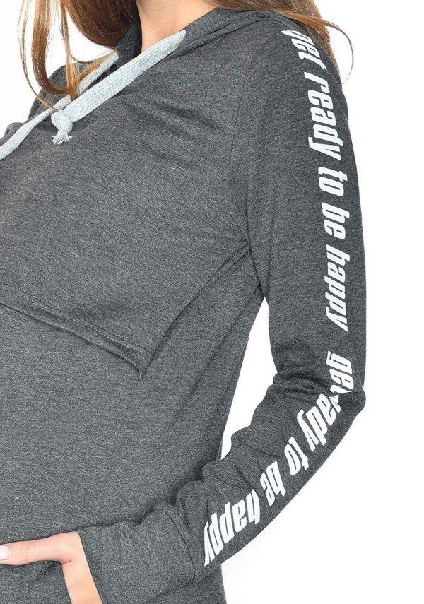 MijaCulture - 3 w 1 bluza ciążowa i do karmienia M68 4110 grafit Happy 5