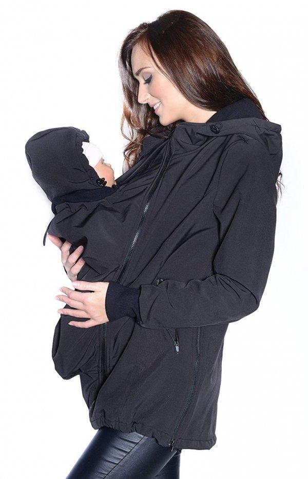 kurtka softshell 3D ciążowa i do noszenia dziecka M52/4068 czarny 2