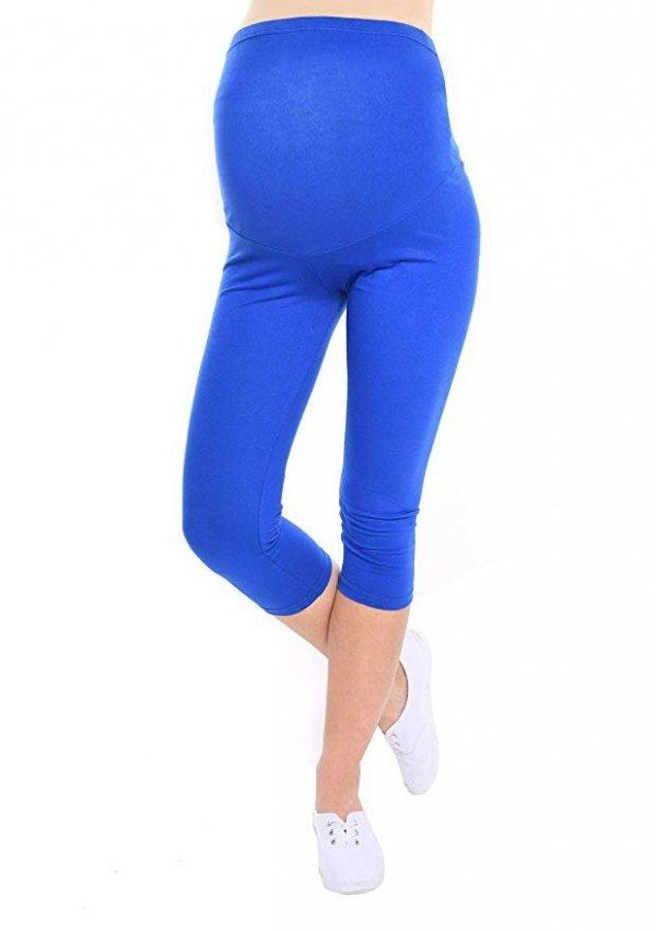 Komfortowe legginsy ciążowe 3/4 niebieskie 10