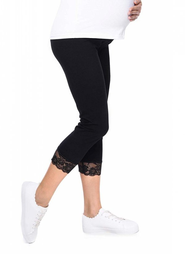 Komfortowe legginsy ciążowe 3/4 z koronką czarne 4