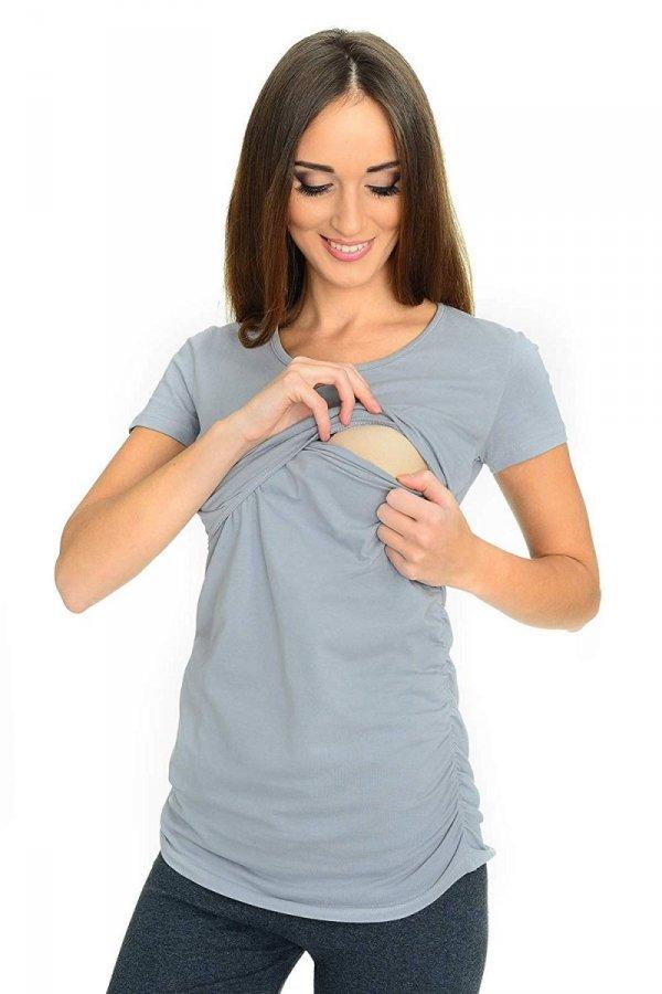 MijaCulture - bluzka 2 w 1 ciążowa i do karmienia krótki rękaw M03/3074 szary 1