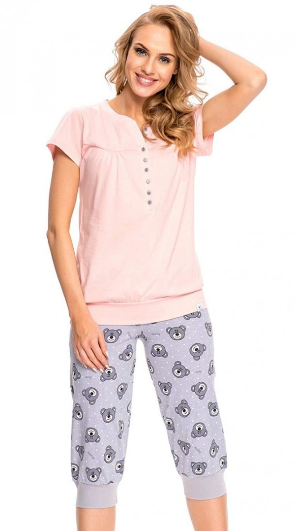 Wygodna piżama 2 w 1 ciążowa i do karmienia 5063 jasno różowy 2