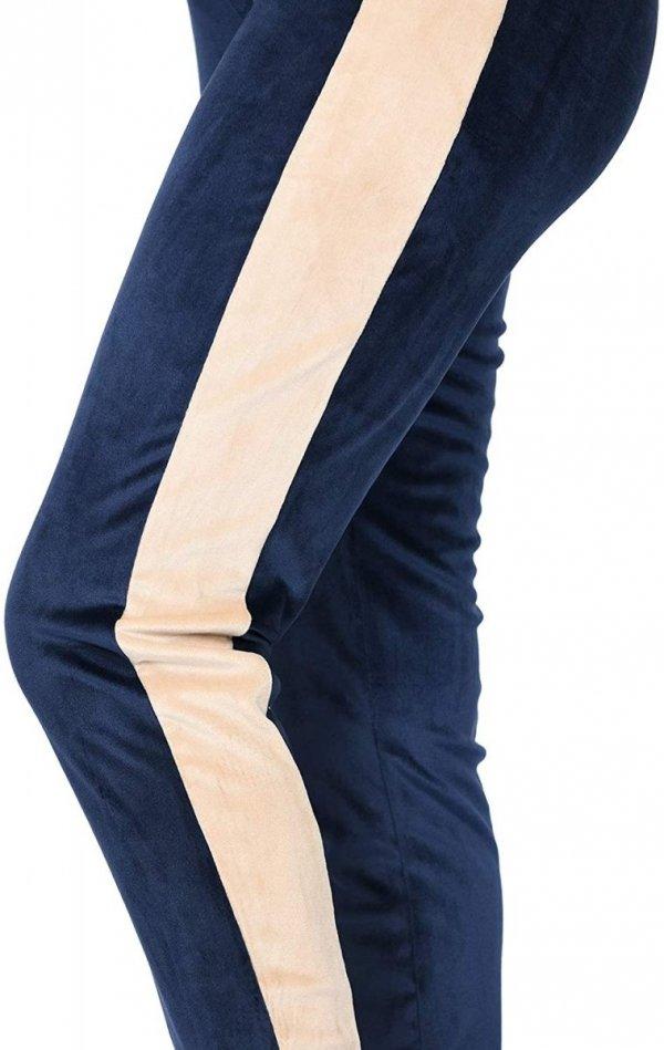 Wygodne spodnie ciązowe dresowe welurowe 9096 granat/beż4