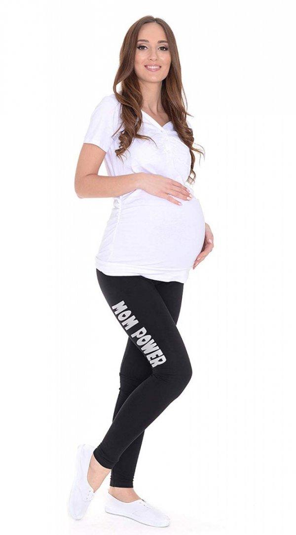 """Wygodne legginsy ciążowe z nadrukiem """"Mom Power"""" 9085 czarny 2"""