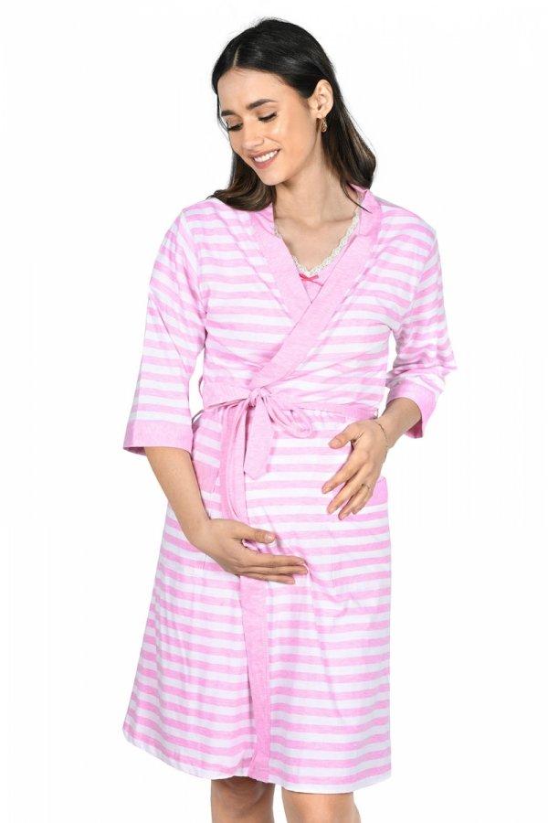 MijaCulture - 2 w 1 komplet koszula nocna i do karmienia + szlafrok 2076 róż