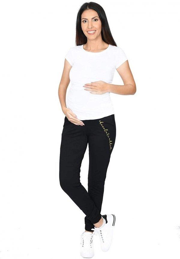 Wygodne ciążowe spodnie dresowe Chocolate Addict 9097 czarny4