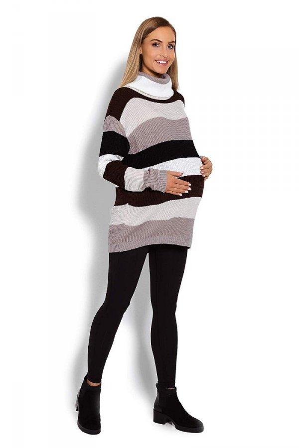 Wygodny sweter ciążowy w paski 70007/2012 brązowy 3