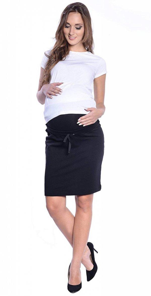 """Wygodna spódnica ciążowa dresowa """"Julia"""" 9050 czarny 2"""