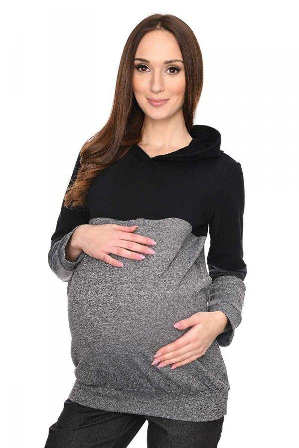 """MijaCulture - 3 w 1 bluza ciążowa i do karmienia """"Jane"""" 7144 grafit/czarny 1"""